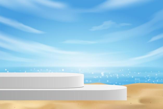 Pusty nowoczesny biały stół do wyświetlania produktów na cokole, letnia plaża z błękitnym morzem