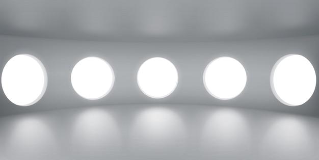 Pusty okrągły pokój z iluminatorami