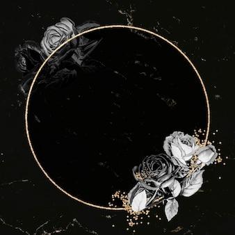 Pusty okrągły wektor złotej ramki