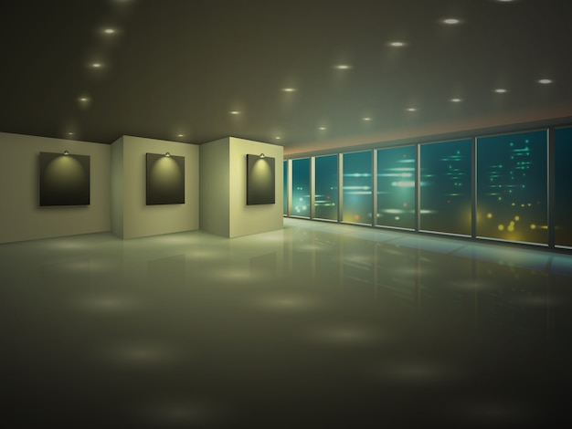 Pusty oświetlony apartament w nocy