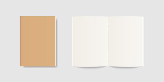 Pusty otwarty i zamknięty notatnik lub realistyczny notatnik, pamiętnik lub książka. szablon wektor