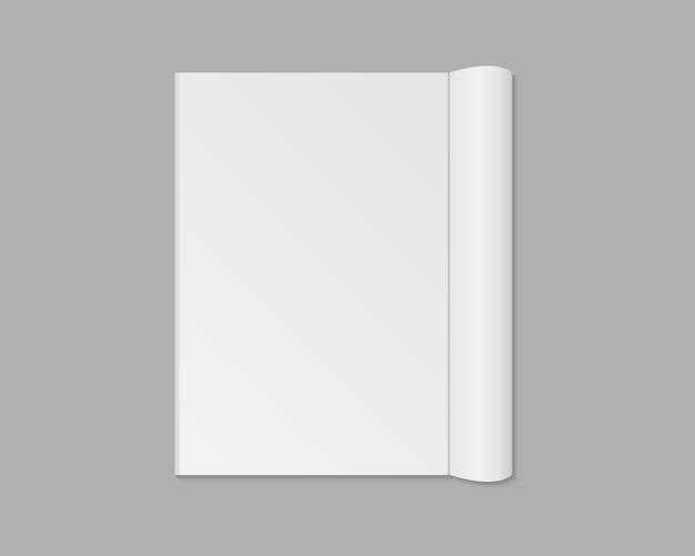 Pusty otwarty magazyn, książka, notatnik, broszura, broszura lub katalog. rozprzestrzenianie się pustej strony magazynu. odosobniony. szablon ilustracja.