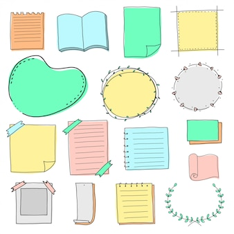 Pusty papier doodle zestaw obramowania i ramki