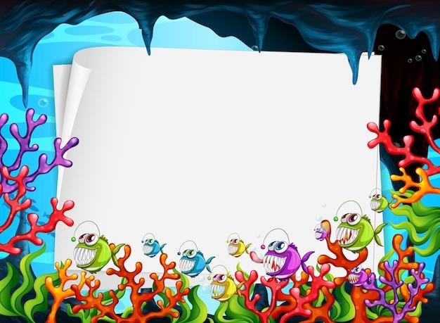 Pusty Papierowy Transparent Z Egzotycznymi Rybami I Elementami Podwodnej Przyrody Na Tle Podwodnego Premium Wektorów