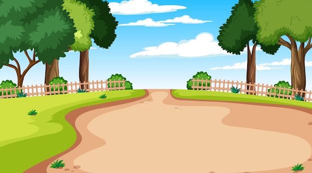 Pusty park krajobrazowy w scenie dziennej