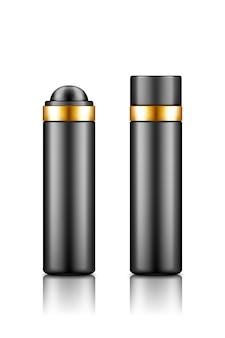 Pusty plastikowy czarno-złoty pojemnik na kosmetyki z makietą nasadki i rolki