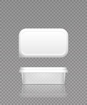 Pusty plastikowy przezroczysty pojemnik na masło, ser lub margarynę z makietą pokrywki - widok z przodu i z góry