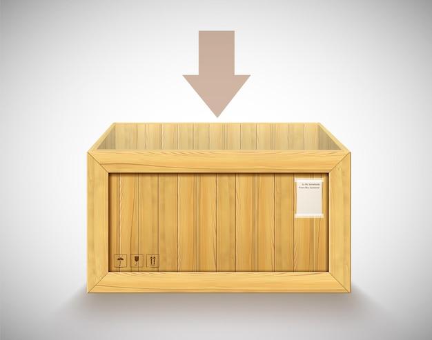 Pusty pojemnik z drewna 3d bez górnej pokrywy