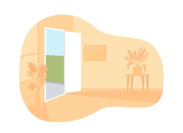 Pusty pokój 2d wektor ilustracja na białym tle. żadnych ludzi w mieszkaniu płaskich znaków na tle kreskówek. wnętrze dekoracji salonu. nikt w wygodnym zakwaterowaniu kolorowej scenie