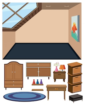 Pusty pokój i zestaw drewnianych mebli