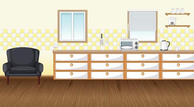 Pusty pokój kuchenny z szafką i parkietem