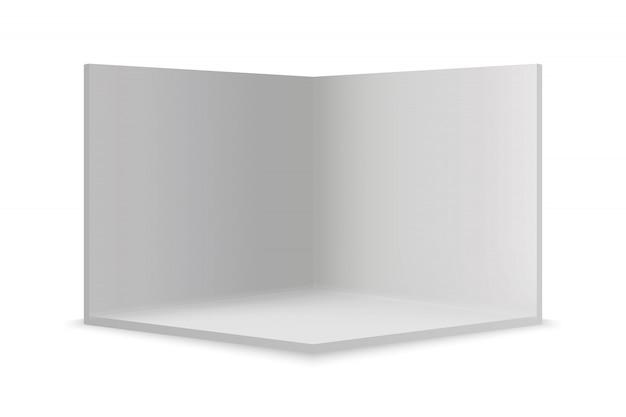 Pusty pokój pokazowy z kwadratowym rogiem