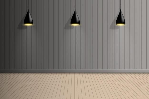 Pusty pokój wystawowy z żarówką sufitową, projektowanie wnętrz