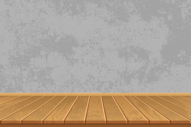 Pusty pokój z drewnianą podłogą i betonową ścianą