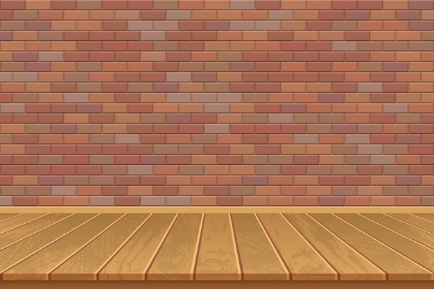 Pusty pokój z drewnianą podłogą i murem