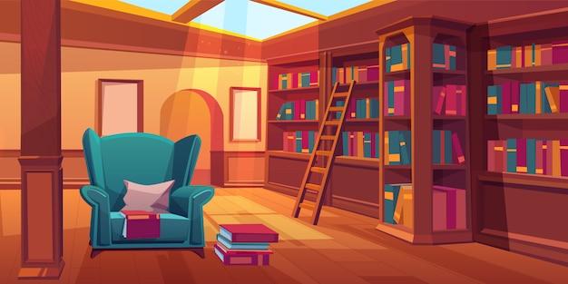 Pusty pokój z drewnianymi półkami na książki