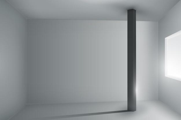 Pusty pokój z podświetlanym oknem i ciemnym filarem