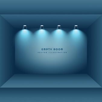 Pusty pokój z światła punktowe