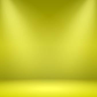 Pusty pokój żółty. studio z reflektorami. ilustracja.