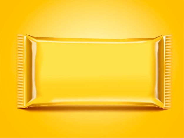 Pusty projekt opakowania torby foliowej w kolorze żółtym