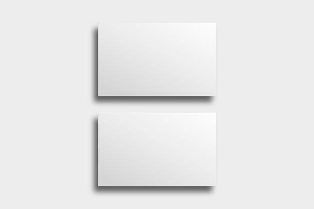 Pusty projekt wizytówki w białym odcieniu z widokiem z przodu iz tyłu