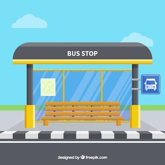 Pusty przystanek autobusowy o płaskiej konstrukcji