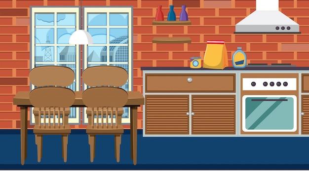 Pusty salon i kuchnia