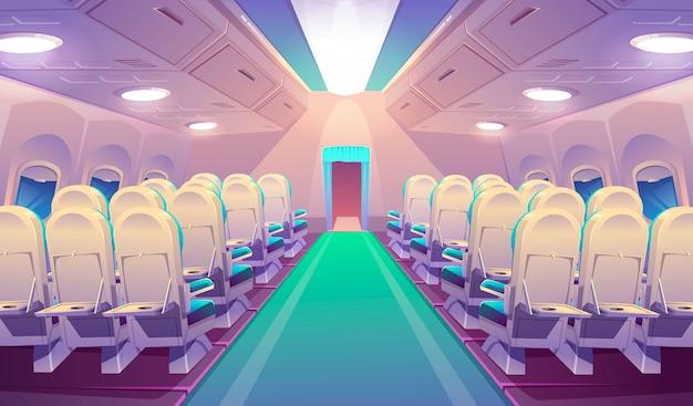 Pusty samolotowy wnętrze z krzesłami