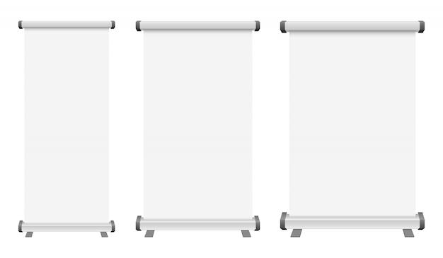 Pusty stacza się up sztandar ilustrację na białym tle