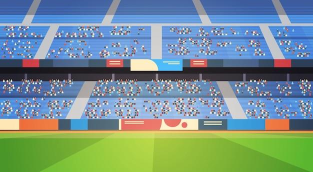 Pusty stadion piłkarski arena wypełniona trybunami przed rozpoczęciem meczu płasko poziomo