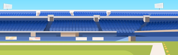 Pusty stadion piłkarski z zielonym trawnikiem i niebieskimi trybunami poziomymi