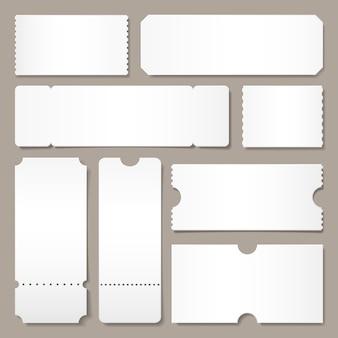 Pusty szablon biletu. bilety na koncerty festiwalowe, układ kart z białej kartki i kino przyjmują jeden arkusz na białym tle makieta