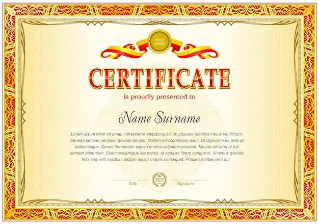 Pusty szablon certyfikatu.