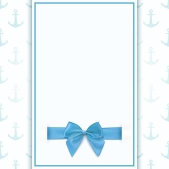 Pusty szablon kartki z życzeniami dla baby boy shower celebracja, urodziny lub baby boy ogłoszenie karty.