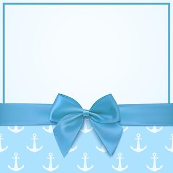 Pusty szablon karty z pozdrowieniami dla obchodów baby boy shower lub baby boy ogłoszenie karty.