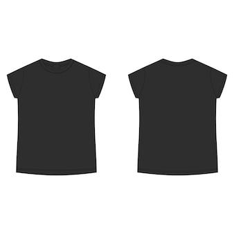 Pusty szablon koszulki w kolorze czarnym. t-shirt dziecięcy szkic techniczny na białym tle. swobodny styl dziecięcy. przód i tył.
