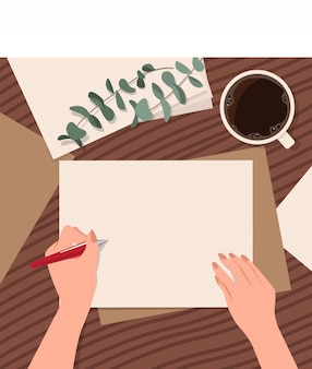 Pusty szablon papier na biurku ręką trzymającą długopis do pisania. szczęśliwego międzynarodowego dnia leworęcznego. sytuacja biurowa. tło w stylu płaski.
