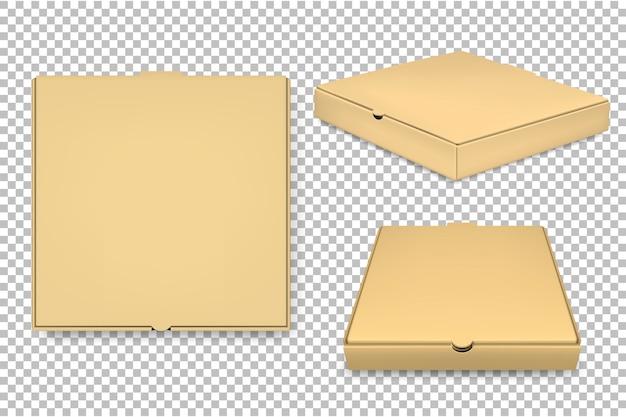 Pusty szablon pudełko pizzy zestaw na białym tle