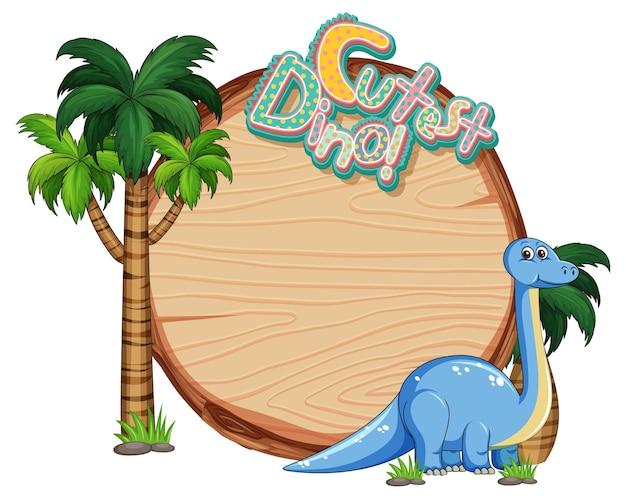 Pusty szablon tablicy z uroczą postacią z kreskówki dinozaura na białym