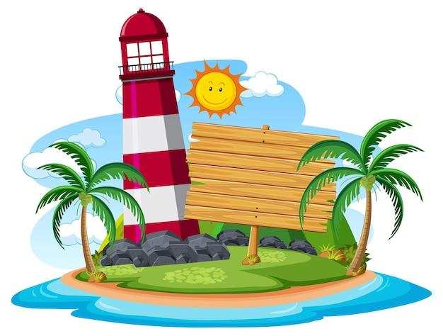 Pusty szablon transparentu na wyspie z odizolowaną latarnią morską
