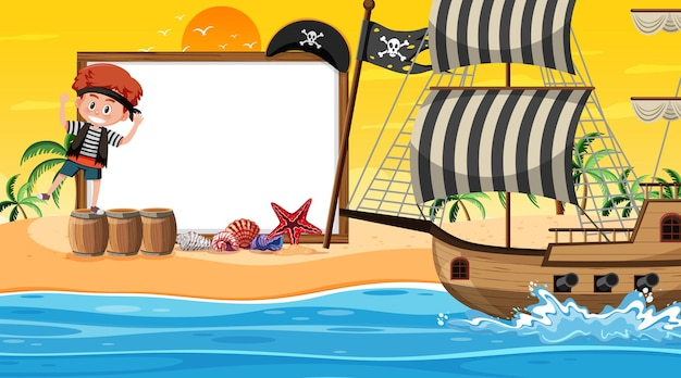 Pusty szablon transparentu z dziećmi piratów na scenie o zachodzie słońca na plaży