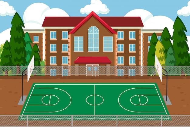 Pusty szkolny boisko sportowe