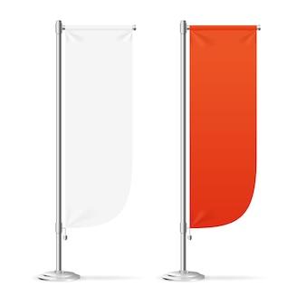 Pusty sztandar flaga czerwony i biały zestaw.
