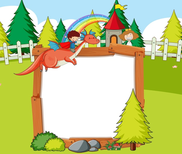 Pusty sztandar na scenie leśnej z bajkową postacią z kreskówek i elementami