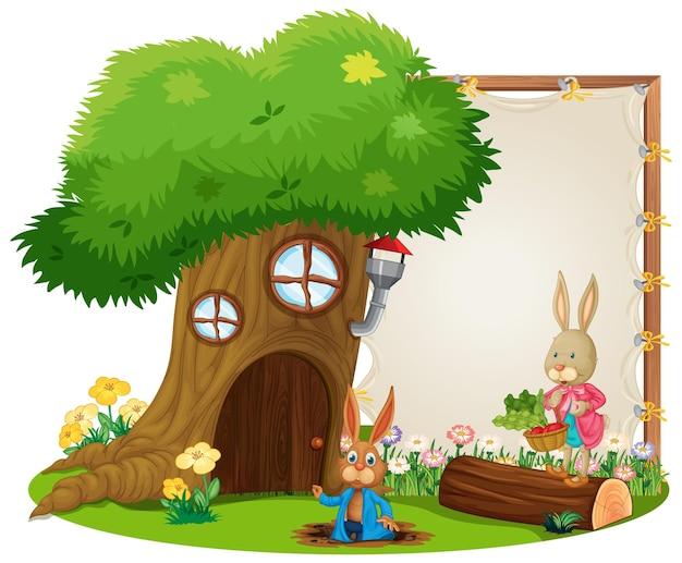 Pusty sztandar w ogrodzie ze słodkimi królikami na białym tle
