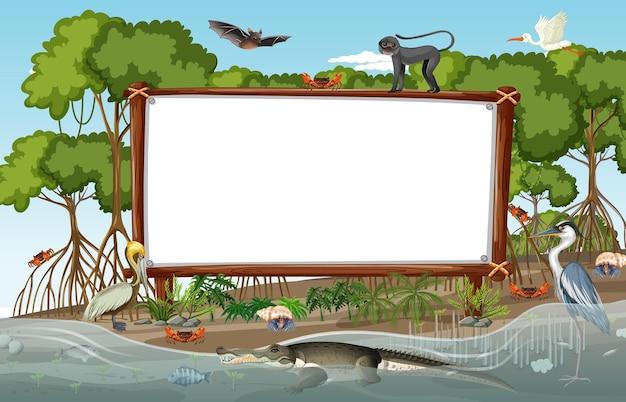 Pusty sztandar w scenie lasu namorzynowego z dzikimi zwierzętami
