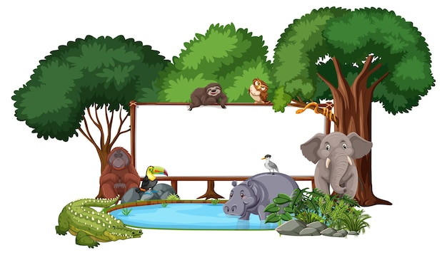 Pusty sztandar z dzikimi zwierzętami i drzewami lasów deszczowych na białym