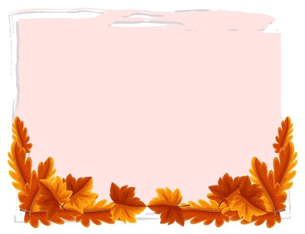 Pusty sztandar z elementami jesiennych liści na białym tle