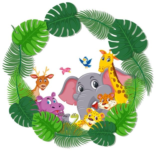 Pusty sztandar z ramą tropikalnych liści i dzikimi zwierzętami
