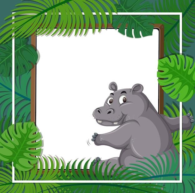 Pusty sztandar z ramą tropikalnych liści i postacią z kreskówki hipopotama